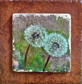 Original photo of dandelions transferred to tile